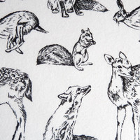 Snuggle Flannel Fabric-Bw Woodland Animals - JoAnn | Jo-Ann