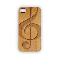 Music Wood iPhone Case, Treble Clef Case, Faux Wood, Music, Woodland, Rustic, Classic, Glee, Choir, Band, Rock, Pop, iPhone 5, iPhone 4S/4