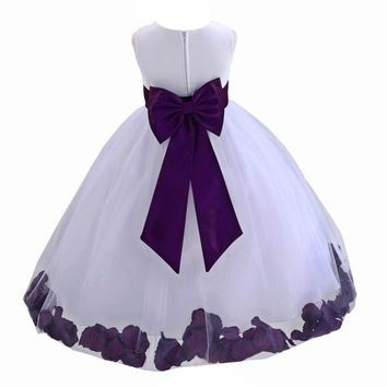 Rose Petals White Tulle Flower Girl Dress Toddler Special Occasion 302T Purple