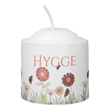 Hygge with painted floral pattern burgundy meadow votive candle