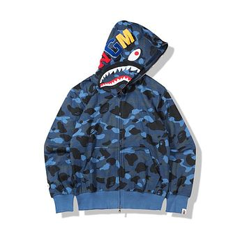 Bape Autumn new street fashion camouflage terry cloth cardigan zipper hooded sweater Camouflage blue