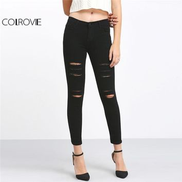 Spring High Waist Skinny Jeans Female Black Ripped Ankle Button Fly Plain Jeans Women Casual Pencil Pants