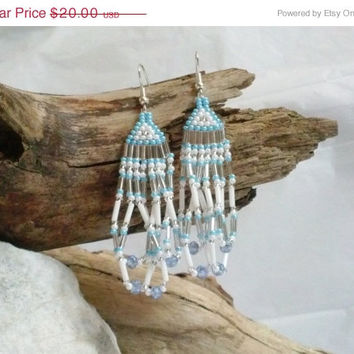 ON SALE Hand Beaded Brickstitch Chandelier Earrings, Baby Blue, White and Silver, Handmade, Swarovski Crystal and Glass Seed Beads