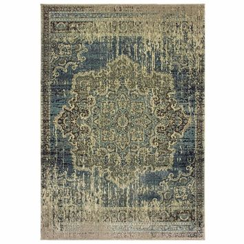 Raleigh Blue Ivory Oriental Distressed Casual Rug