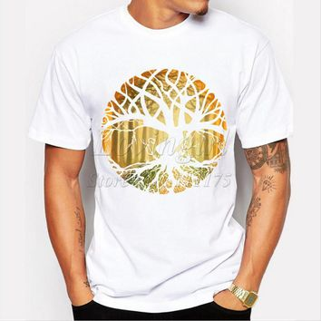 New Design druid tree printed men's t-shirt O-neck Short sleeve cool tops