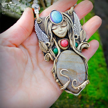FREE SHIPPING Clay goddess pendant Fairy necklace Hand Sculpted Angel clay pendant Amulet talisman Agate clay pendant Spiritual necklace