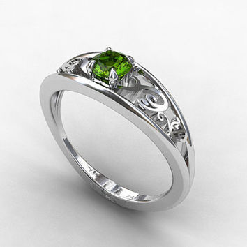 Green sapphire ring, white gold, filigree engagement, green sapphire engagement, unique ring, sapphire wedding, solitaire, custom