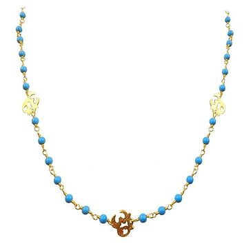 "CHG-197-TU-OM-18"" 18K Gold Overlay Necklace With Turquoise"
