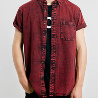 Red Grunge Denim Shirt - Short Sleeve Shirts - Men's Shirts - Clothing