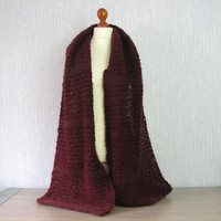 Marsala wine  chunky scarf, wool oversized cowl, chunky knit scarf, shawls and wraps, oversized scarf, chunky knit cowl, knitted shawl