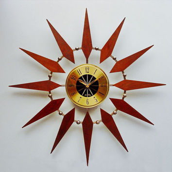 Mid Century Modern Starburst Wall Clock, Circle Sunburst Hanging Clock in Walnut