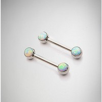 14 Gauge Opal Stones Nipple Rings - Spencer's