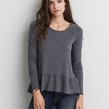 AEO Long Sleeve Ruffle Top , Black