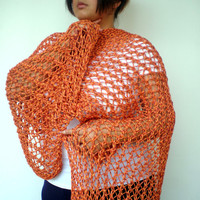 Spice Melange Orange  Lace Wrap Hand Knitted Stole Woman Trendy Shoulder Wrap Chunky Tape  Cotton Summer Scarf NEW