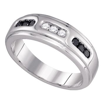 10k White Gold Black Color Enhanced Diamond Channel-set Mens Wedding Anniversary Band Ring 1/3 Cttw