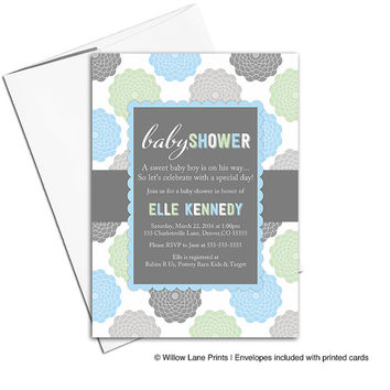 Printable baby shower invitations for baby boy | blue gray green | unique baby shower invites | baby boy shower invites WLP00776