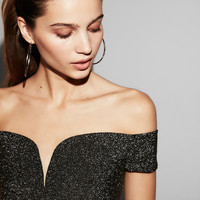 Glitter Deep V-Wire Off The Shoulder Top