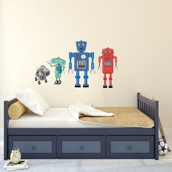 Large Robot Fabric Wall Decals, Eco-Friendly Matte Wall Stickers