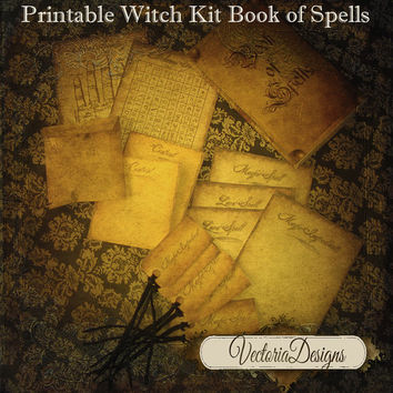 INSTANT DOWNLOAD Witch Book of Spells Kit instant download printable digital collage sheet 247