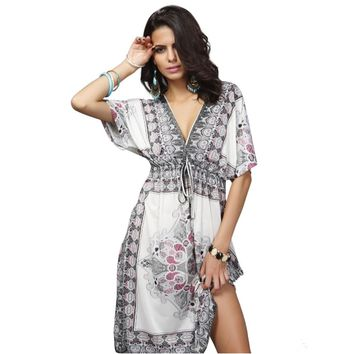 2018 Large Size XXL White Beach Printed Cover Up Robe Plage Kaftan Dress Pareos For Women Beach Tunic Sarong Swimsuit Swimwear