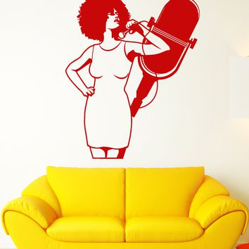 Vinyl Wall Decal Karaoke Club Singer African Woman Microphone Stickers (2134ig)