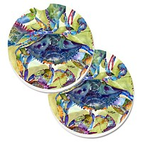 Crab All Over Set of 2 Cup Holder Car Coasters 8512CARC
