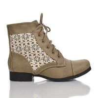 Sub By Soda, Round Toe Crochet Lace Up Low Heel Combat Ankle Booties