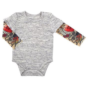 6 - 12 mos Gray Baby Tattoo Sleeve Snap Shirt