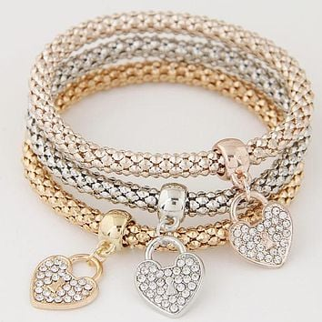 3PCS Crystal Bracelets & Bangles Gold Wrap Charm Bracelets Femme Men Jewelry Multilayer Bijoux