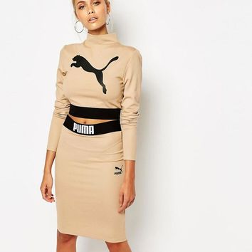 Puma | Puma Camel Long Sleeve Crop Top Co Ord at ASOS