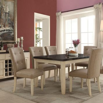 7 pc Faymoor collection antique white finish wood and limestone marble top dining table set