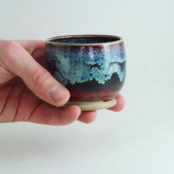 Burgundy Red & Blue Japanese yunomi \ Espresso Mug \ Tea Bowl \ Juice Glass \ Wine Tumbler 6 oz.  Handleless, Wheel Thrown stoneware ceramic