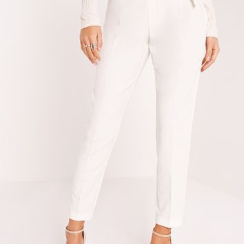 Missguided - Double Buckle Belt Cigarette Trousers White