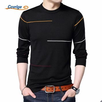 Covrlge 2017 Autumn New Men's Sweater Fashion Slimfit Pullover Male Striped Pullover Men Brand Clothing Turtle Neck Shirt MZL010