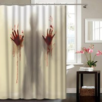 Simulation of 3D digital printing Tricky horror shadows blood handprint shower curtain waterproof polyester bathroom curtain