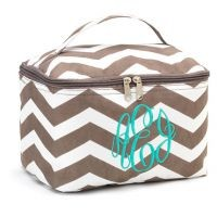 Monogrammed Cosmetic Bag | Taupe Chevron
