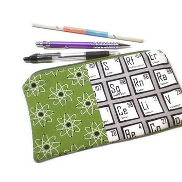 Periodic table zippered pencil case, pencil pouch. Geekery gift. Back to school gift. Green, gray and white. Under 15 gift.