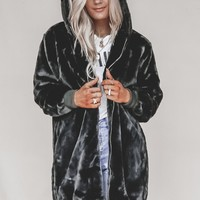 Street Lights Black Fur Oversized Long Coat