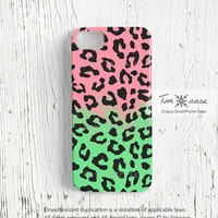 Leopard iPhone 4 case, iPhone 4s case, leopard iPhone 5 case, neon leopard, vivid, colorful cover neon green pink purple pink (c83)