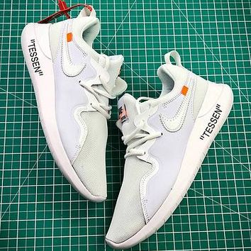 Off White X Nike Wmns Tessen Roshe Run 4 Triple White Sport Running Shoes - Best Online Sale