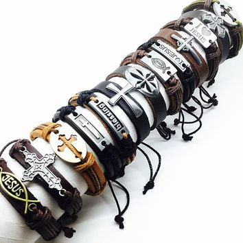 Brand New 10pcs cross men's genuine leather Bracelet black brown Jesus metal Christ mix styles male real cuff bangle jewelry