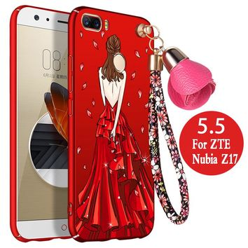 "For zte nubia z17 Case 5.5"" 3D cartoon Hard Frosted luxury funda protector mobile phone shell for zte nubia z17 cover anime girl"