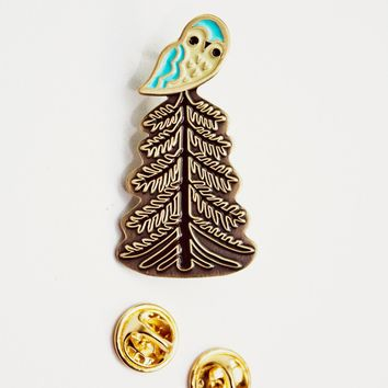 Owl / Tree Enamel Pin - Redwood tree - Owl Enamel Pin - Lapel Pin by boygirlparty