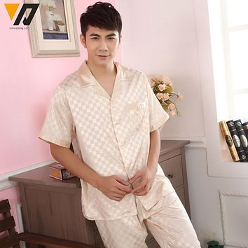 XMWEIPING Nightwear Sleepsuit Loungewear Mens Summer Silk Satin Pajamas Set Pajama Pyjamas Set Pijama Masculino Plus Size