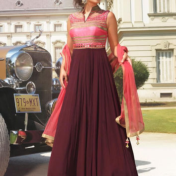 Pink With Maroon Cotton Churidar Style Long Anarkali Salwar Suit