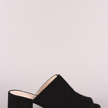 Qupid Suede Slit Blocked Mule Heel