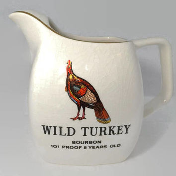 Vintage Wild Turkey Bourbon Pub Jug, Whiskey Pitcher, Collectible Barware, Staffordshire English Ceramic, Made in England
