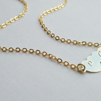 Personalized Double Heart Necklace in Gold or Silver, Wedding gift, engagement gift, valentine's day, anniversary gift, girlfriend