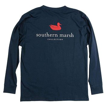 Authentic Long Sleeve Tee in Navy by Southern Marsh