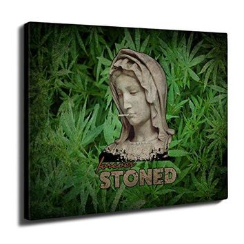 "Stoned Weed Stoner Rasta Ancient Wall Art Canvas 20"" x 12"" 